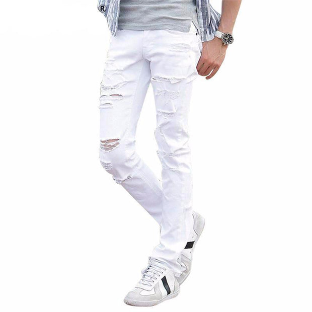 West Louis™ Fashion White Ripped Jeans  - West Louis