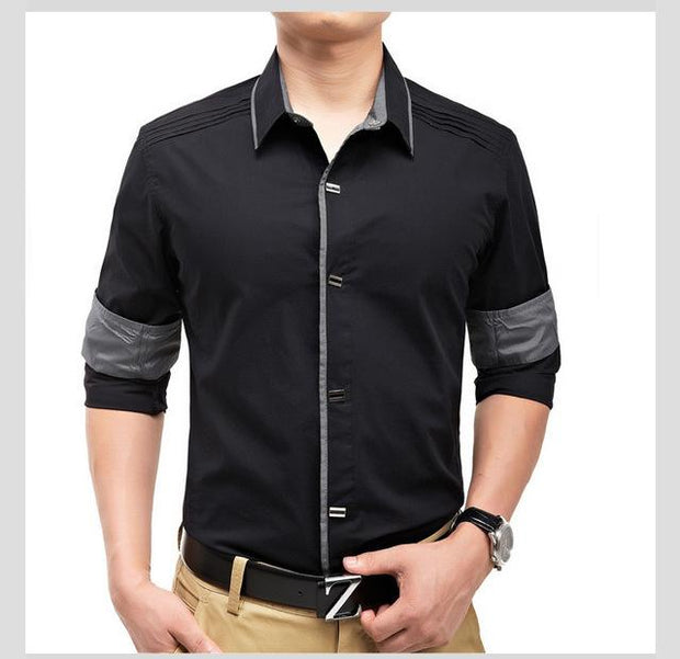 West Louis™ Top Quality Slim Fit Cotton Shirts Black / M - West Louis