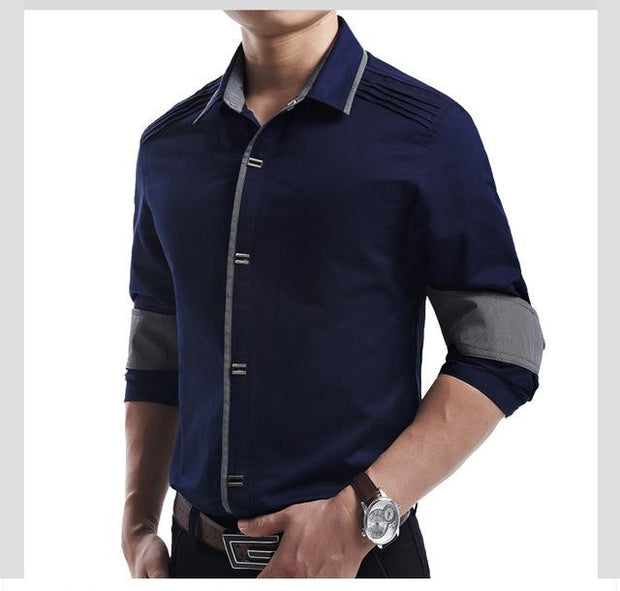West Louis™ Top Quality Slim Fit Cotton Shirts Blue / M - West Louis