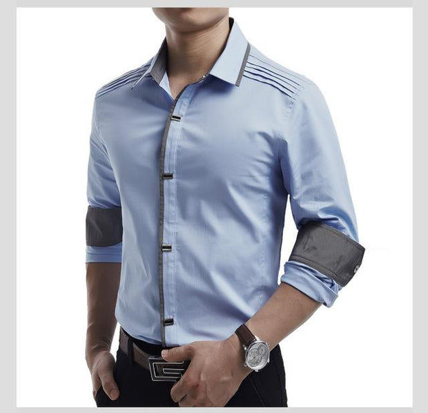 West Louis™ Top Quality Slim Fit Cotton Shirts Sky Blue / M - West Louis