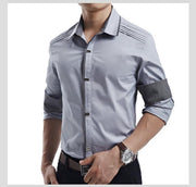 West Louis™ Top Quality Slim Fit Cotton Shirts Gray / M - West Louis