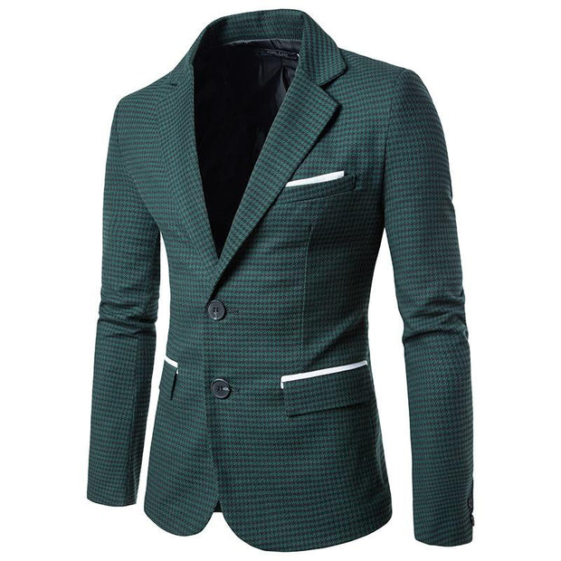 West Louis™ Autumn Plaid Single Breasted Blazer Green / M - West Louis