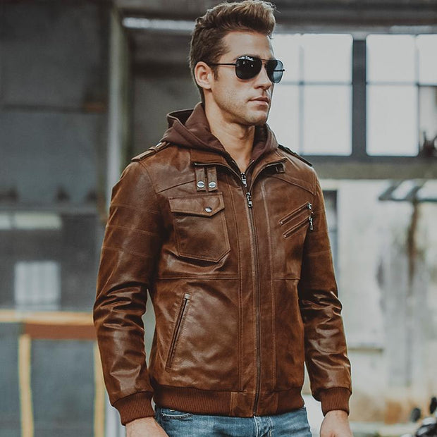 West Louis™ Removable hooded Genuine Leather  - West Louis