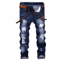 West Louis™ Denim Ripped Slim Jeans Blue / 28 - West Louis