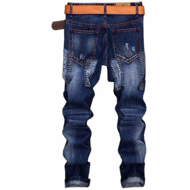 West Louis™ Denim Ripped Slim Jeans  - West Louis