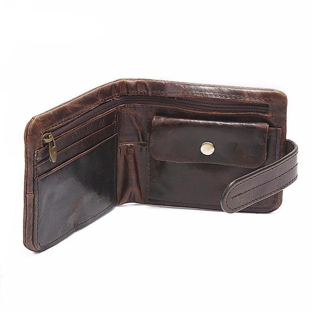 West Louis™ Leather Short Folding Wallet  - West Louis