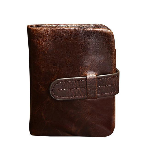 West Louis™ Leather Short Folding Wallet Brown1 - West Louis