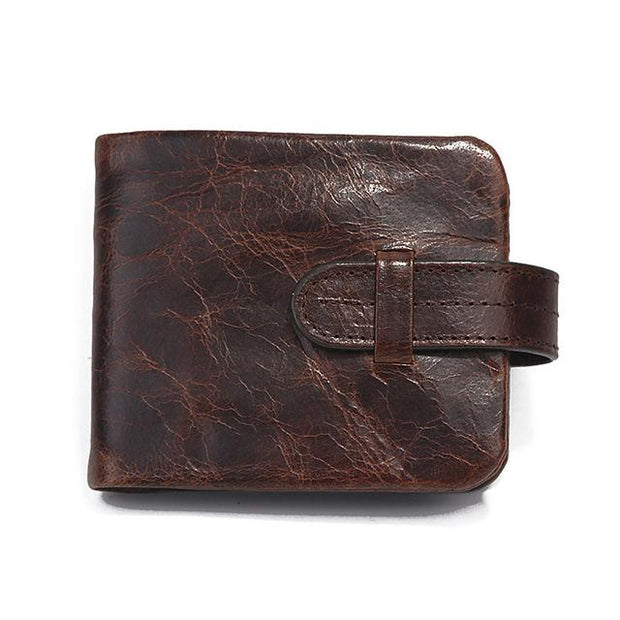 West Louis™ Leather Short Folding Wallet Brown2 - West Louis