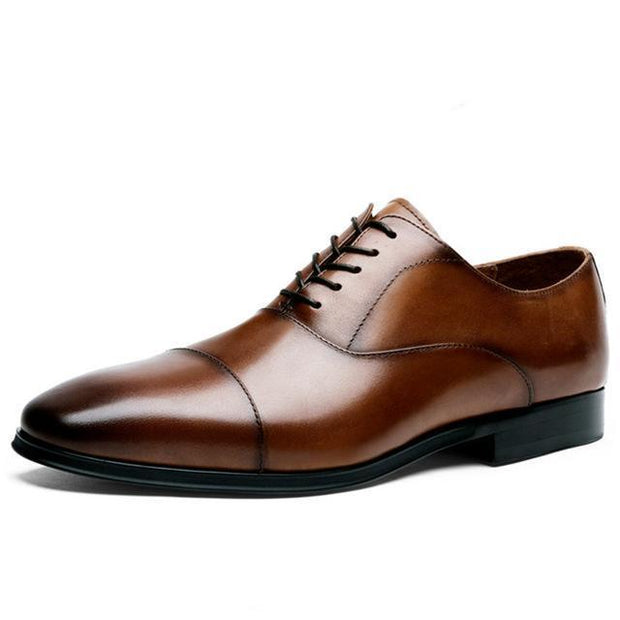 West Louis™ Luxury Cow Leather Oxford Shoes Brown / 6 - West Louis