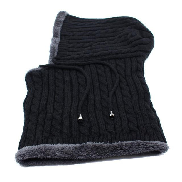 West Louis™ Winter Knitted Hat Beanie Scarf black - West Louis
