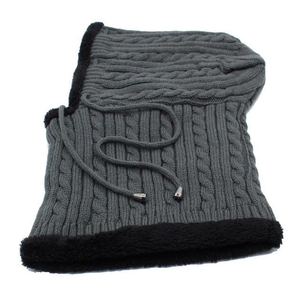West Louis™ Winter Knitted Hat Beanie Scarf gray - West Louis