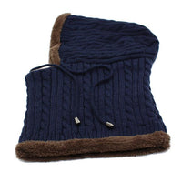 West Louis™ Winter Knitted Hat Beanie Scarf navy - West Louis