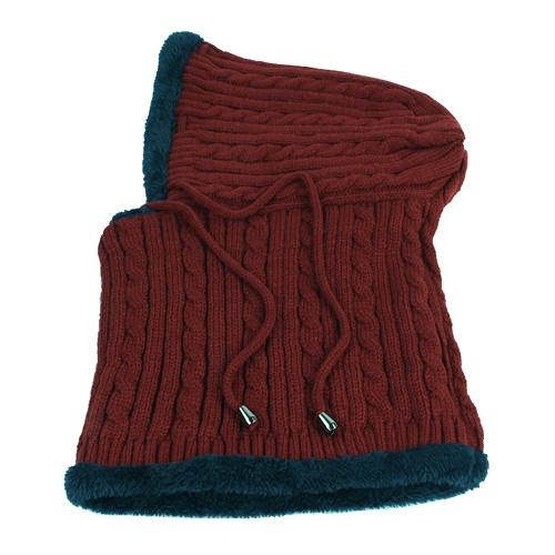 West Louis™ Winter Knitted Hat Beanie Scarf wine red - West Louis