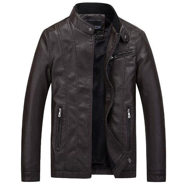 West Louis™ Top Quality PU Leather Jacket Brown / XL - West Louis