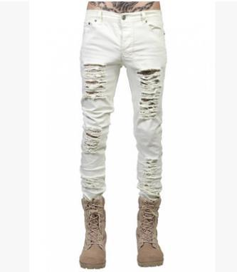 West Louis™  Hip Hop Swag Distressed Slim Jeans [ 3 colors ] White / 28 - West Louis
