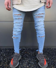 West Louis™  Hip Hop Swag Distressed Slim Jeans [ 3 colors ] Blue / 28 - West Louis