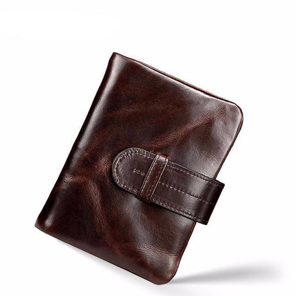 West Louis™ Retro Oil Wax Leather Short Wallet Brown - West Louis