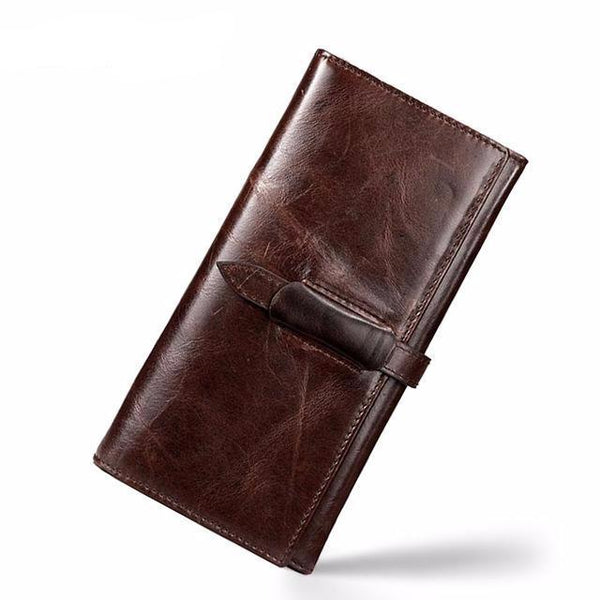 West Louis™ High-grade Leather Long Wallet Brown - West Louis