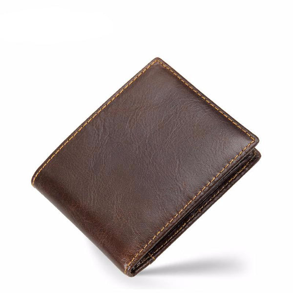 West Louis™ The First Layer Of Leather Wallet Brown - West Louis