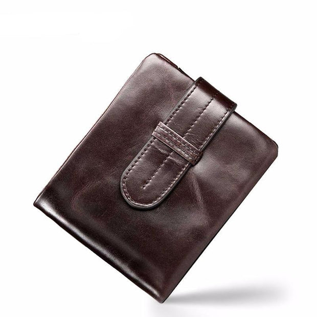 West Louis™  Oil Wax Genuine Leather Wallet Brown - West Louis