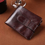 West Louis™  Oil Wax Genuine Leather Wallet  - West Louis