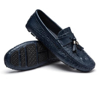 West Louis™ Top Quality Crocodile Pattern Mocasins Blue / 6 - West Louis