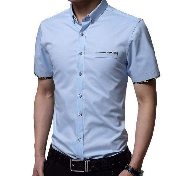 West Louis™ Short Sleeve Slim Fit Cotton Shirt  - West Louis
