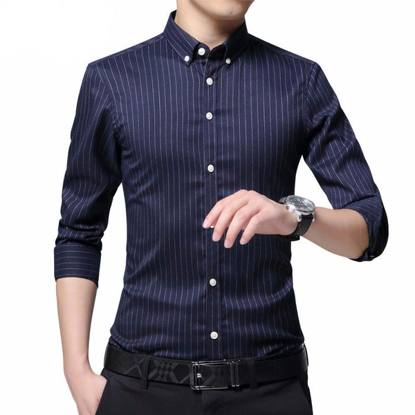 West Louis™ Business Men Striped Dress Shirt  - West Louis