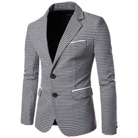 West Louis™ Autumn Plaid Single Breasted Blazer Gray / M - West Louis