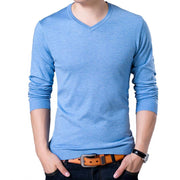West Louis™ V-Neck Thin Sweater Pullover Sky Blue / M - West Louis