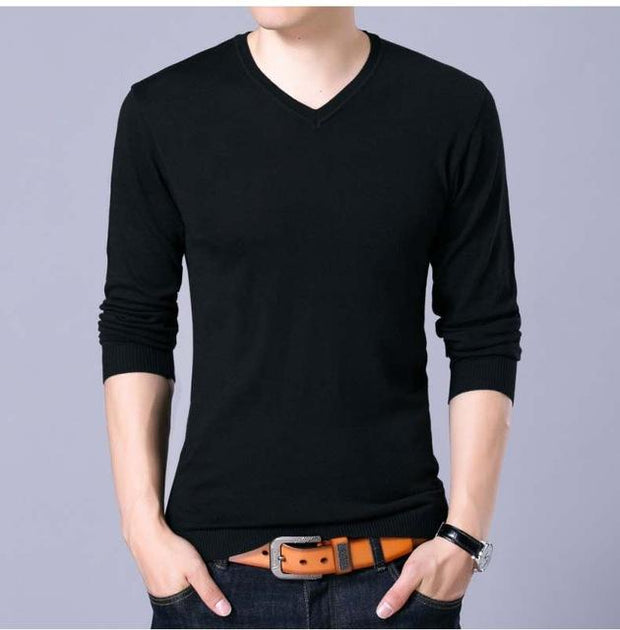 West Louis™ V-Neck Thin Sweater Pullover Black / M - West Louis