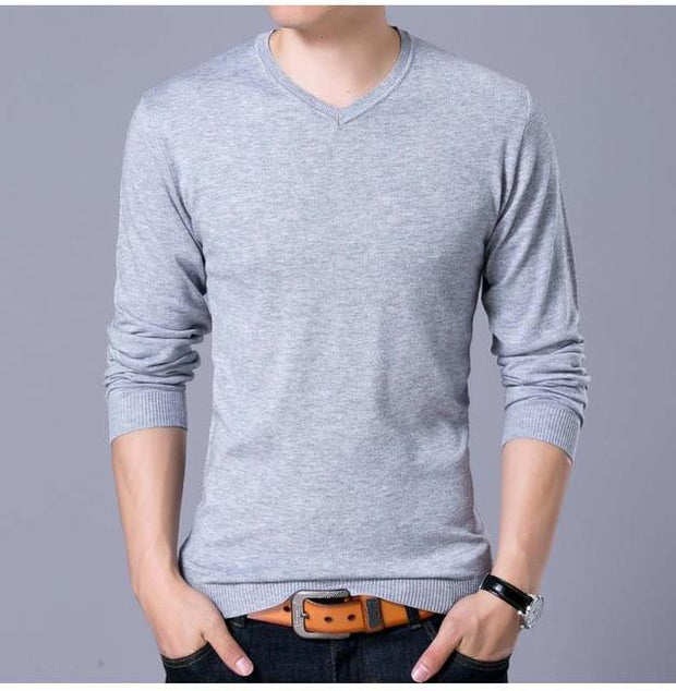 West Louis™ V-Neck Thin Sweater Pullover Gray / M - West Louis