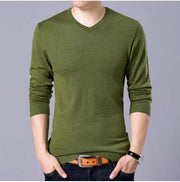 West Louis™ V-Neck Thin Sweater Pullover Army Green / M - West Louis