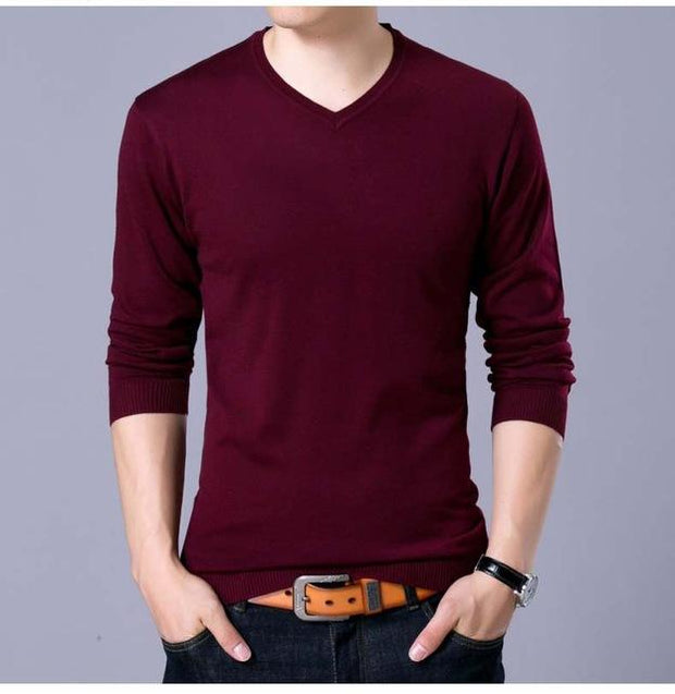 West Louis™ V-Neck Thin Sweater Pullover Red / M - West Louis