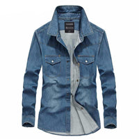 West Louis™ Classic Cotton Denim Shirt  - West Louis