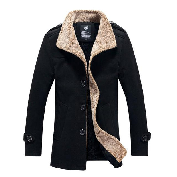West Louis™ Lambswool Stand Collar Peacoat Black / M - West Louis