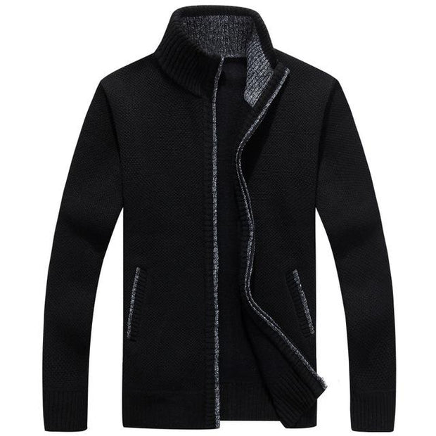 West Louis™ Velvet Cashmere Sweater Cardigan Black / M - West Louis