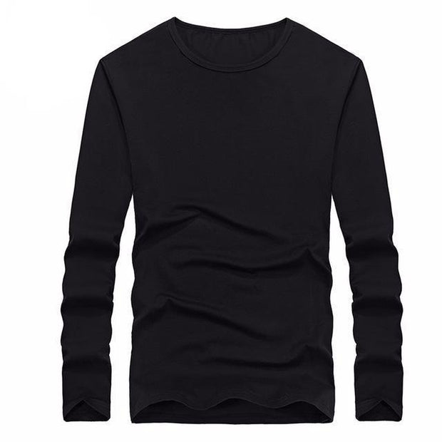 West Louis™ Cotton Solid Color Long Sleeved T Shirt Black / XS - West Louis