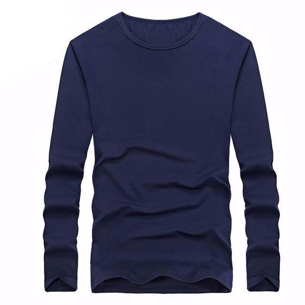 West Louis™ Cotton Solid Color Long Sleeved T Shirt Blue / XS - West Louis