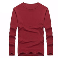 West Louis™ Cotton Solid Color Long Sleeved T Shirt Dark Red / XXL - West Louis