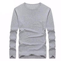West Louis™ Cotton Solid Color Long Sleeved T Shirt Gray / XS - West Louis