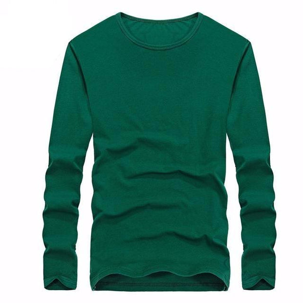 West Louis™ Cotton Solid Color Long Sleeved T Shirt Green / XS - West Louis