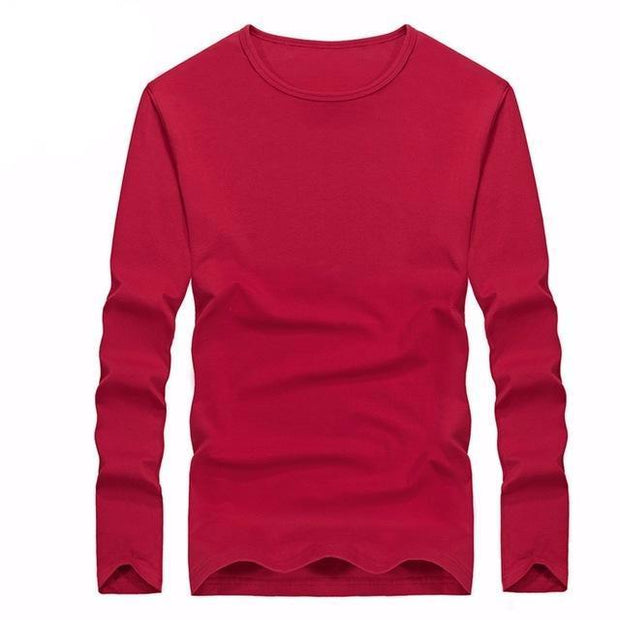 West Louis™ Cotton Solid Color Long Sleeved T Shirt Red / XS - West Louis