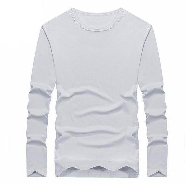 West Louis™ Cotton Solid Color Long Sleeved T Shirt White / XS - West Louis