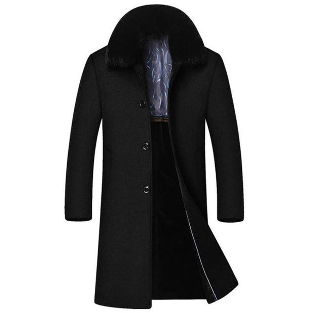 West Louis™ High-End Men's Business Warm Velvet Coat Black / M - West Louis