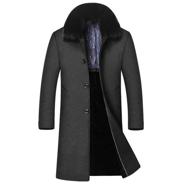 West Louis™ High-End Men's Business Warm Velvet Coat Gray / M - West Louis