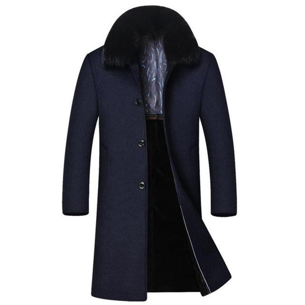 West Louis™ High-End Men's Business Warm Velvet Coat Navy Blue / M - West Louis