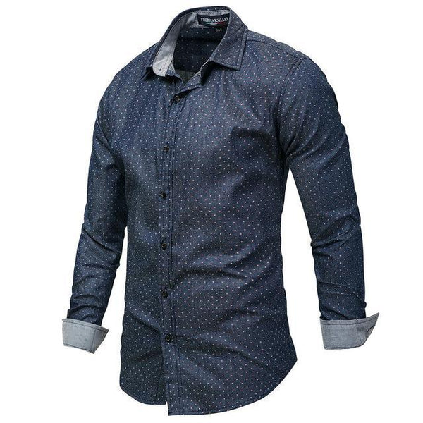 West Louis™ Polka Dot Denim Dress Shirt