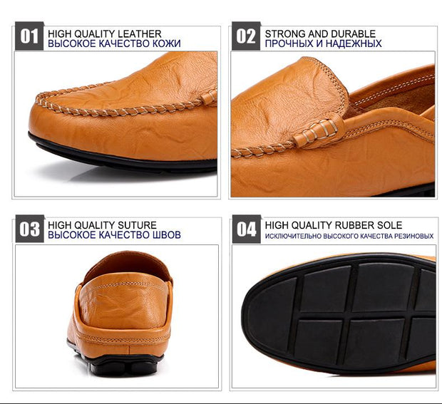West Louis™ Autumn Leather Flats Moccasins  - West Louis