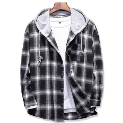 West Louis™ Plaid Casual Hooded Shirt